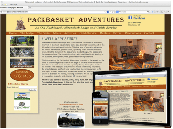 Pack Basket Adventures Adirondack Responsice Web Design